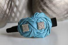 GirlWomenAdult blue rosettes  black 1'' by DESERTROSECOUTURE, $20.00