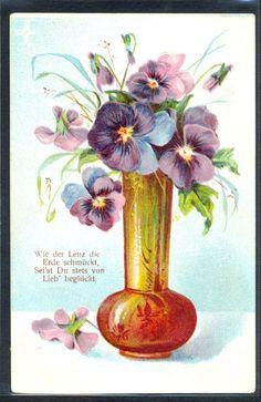 Art Nouveau Pansies in Vase Embossed | eBay