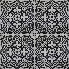 """»Cement kakel serie ARTE blad prydnad svart / vit"""" Replicata - 300 x 300 x 20 mm - repliker"""