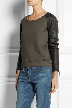 Burberry Brit | Leather-sleeve jersey sweatshirt | NET-A-PORTER.COM