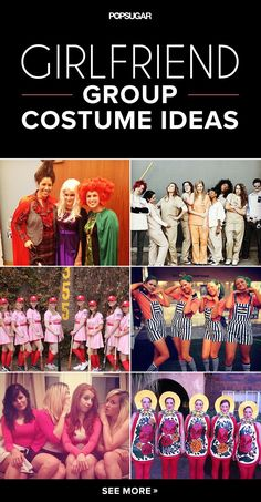 """Have a Hot Ghoul Halloween With These 60 Girlfriend Group Costumes Whether you're planning a """"ghouls"""" night out for Oct. 31 or just need some ideas for you and your female co-workers, take your pick from more than 50 getups. Costume Halloween, Girl Group Halloween Costumes, Costume Carnaval, Cute Costumes, Halloween Season, Holidays Halloween, Halloween Crafts, Happy Halloween, Halloween Party"""