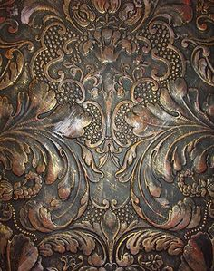 Lincrusta Wallpaper - Aged Metal Effect, to achieve this effect: apply red emulsion to white acrylic primer. Further base of black, wipe away on highlights whilst drying. Paintable Wallpaper, Embossed Wallpaper, Of Wallpaper, Beautiful Wallpaper, Faux Painting, Painting Tips, Painting Techniques, Aging Metal, Metal Embossing