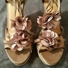Spring time wedges NWOT Tan & cream strappy wedges with 2 flower embellishments on each shoe. Sbicca Shoes Wedges