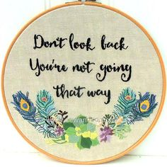 Buy Don't Look Back Hoop Embroidery Pattern - DOWNLOAD ONLY Online at www.sewandso.co.uk