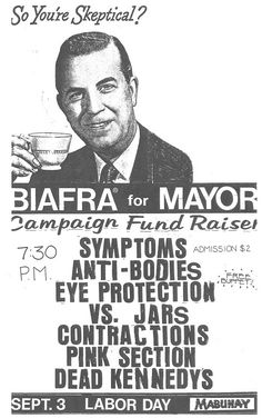 Jello Biafra (Dead Kennedys) for Mayor, Campaign Fund Raiser punk flyer Rock Posters, Concert Posters, Event Posters, Music Posters, Jello Biafra, Punk Poster, Gig Poster, Dead Kennedys, Campaign Slogans