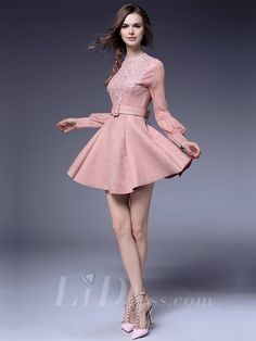 Pink Long Sleeves Coctail Dress