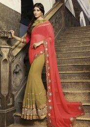 Party Wear Georgette Green Embroidered Work Saree