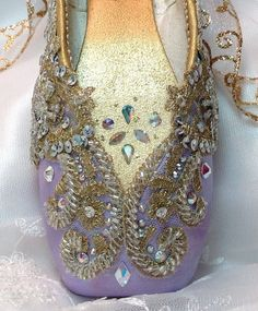 Lavender and gold decorated pointe shoe with AB crystals. Nutcracker Sugarplum Fairy. Sleeping Beauty Lilac Fairy.  Decorative pointe shoe.