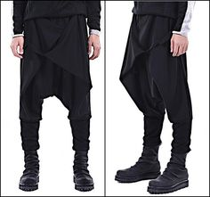 PLEASE KEEP IN MIND **Item takes up to 1-2 business weeks for production and 100% handmade ** **-**Details Exclusively Ours! Black Casual Drop Crotch Wrap Harem Ninja Pants // Wrap Skirt Layered Joggers Black Pants 58% Cotton 42% polyTwo pockets   Men in this picture wearing size : Large His height : 1/89 weight : 76 kg ************ Small size:Lenght: 102 cmWaist : 52 cm (1side) - UnstretchedHips : 56 cm - Unstretched Medium :Lenght: 104 cmWaist : 54 cm (1side) - Unstretchedhip...