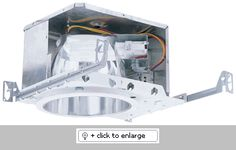 """8"""" IC Horizontal Compact Fluorescent Housing with Plaster Frame.    For (1) or (2) horizontally mounted lamps with integral fluorescent electronic ballast.   UL Listed for damp location and feed through.   7 1/4"""" height allows use in 2 X 8 construction.   Trim support adjusts 3/4"""" to accommodate different ceiling thickness.   24"""" Captive hanger bars included.   For direct contact with insulation."""