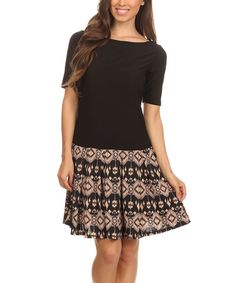 Look at this #zulilyfind! Black & Brown Geometric Fit & Flare Dress by Pretty Young Thing #zulilyfinds