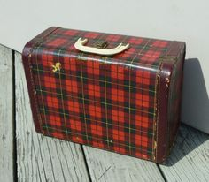 plaid vintage suitcase for girls or dolls