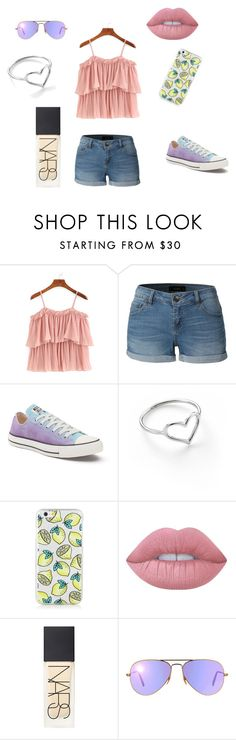 Shopping/Beach by meggieb7 on Polyvore featuring LE3NO, Converse, Jordan Askill, Ray-Ban, Lime Crime and NARS Cosmetics