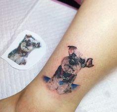 Dog Tattoos, Sexy Tattoos, Body Art Tattoos, Tattos, Raza Schnauzer, Mini Schnauzer, Dog Portrait Tattoo, Shadow Tattoo, Dog Memorial Tattoos