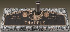 Companion Bronze Gravestone, Devotions: Chapel, GB-351, Moonlight Gray Granite, Size(s): D, E