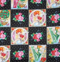 mary engelbreit | Mary Engelbreit In Love with ME fabric- Flowers and letters on black ...