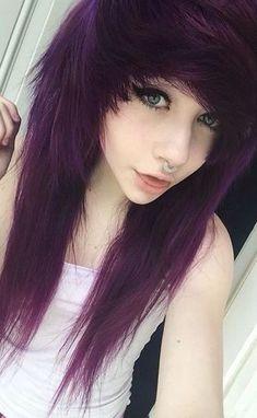Emo Girl Hairstyles, Teen Haircuts, Pretty Hairstyles, Scene Hairstyles, Hairstyle Men, Style Hairstyle, Formal Hairstyles, Wedding Hairstyles, Lilac Hair