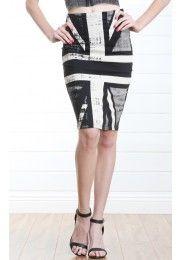 Two Tone Union Jack Pencil Skirt BLACK