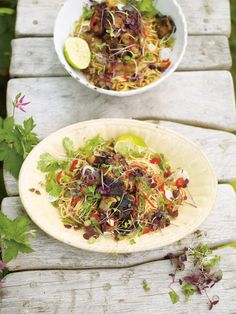 Jamie Oliver's hot & sour rhubarb & crispy pork with noodles--a nice pair with a fresh Traminette.