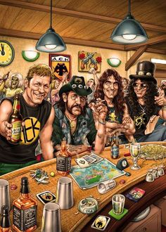 Julho : O dia mundial do Rock. Very cool cartoon portraiture of Lemmy, Slash and a few others hanging around a bar.Very cool cartoon portraiture of Lemmy, Slash and a few others hanging around a bar. Arte Heavy Metal, Heavy Metal Music, Rock 13, Pop Rock, Metallica, Rock And Roll, Heavy Metal Rock, Music Artwork, Rock Posters