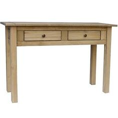Details About Panama Console Table 2 Drawer Solid Waxed Pine Rustic  Dressing Bedroom Unit