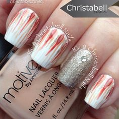 "Polishes used:  @motivescosmetics Wedding Dress (white), Exposed (beige), and Crave (burnt orange), and Color Club gold (sorry no name on bottle)."" #makeup #beauty #glam #mua #eotd #nail #mani #nailpolish #nailart"