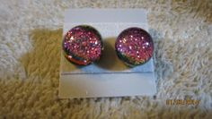 HOT PINK PURPLE DICHROIC GLASS STUD POST EARRINGS FREE SHIPPING!    Imaginative_Creations - Jewelry on ArtFire