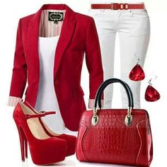 Red  fitted jacket with white top  and white jeans red belt Red shoes and purse with silver and the belt and purse ..Nice Outfit  []