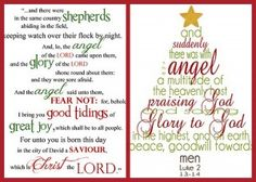 Free Printable Christmas Word Art: Luke 2  Print this on card stock and you've got one of the best Christmas Cards ever! <3