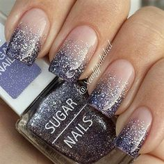 Gradient nail art and silver glitter nail art designed in French tips. Stand out of the crowd with beautiful glitter nail art inspired designs Silver Glitter Nails, Glitter Nail Art, Blue Nails, Nail Glitter Design, Glitter Tattoos, Matte Nails, Acrylic Nails, Glitter Uggs, Pink Glitter