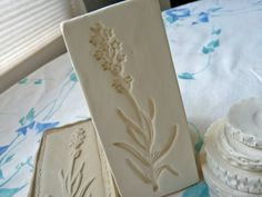 Clay Stamp Lavender Blossom Pottery Press Mold Relief Mold or Sprig Mold Bisque Clay Herb Stamp for Ceramic Decoration and Texture. $12.00, via Etsy.