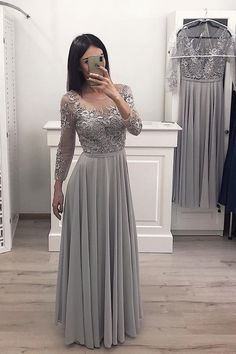 Long Sleeves Chiffon Long Prom Gown Appliques Bridesmaid Dresses - Prom Dresses For Teens - Wedding Dresses Burgundy Homecoming Dresses, Grad Dresses Long, Bridesmaid Dresses With Sleeves, Prom Dresses For Teens, Long Prom Gowns, Prom Party Dresses, Dress Prom, Formal Dresses With Sleeves, Elegant Dresses