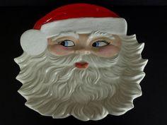 "Santa Claus Wall Hanging Plate Christmas Holiday Large 14"" Holiday Decor Vintage"
