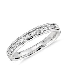 Blue Nile Riviera Pave Milgrain Diamond Ring in 14k White Gold (1/4 ct. tw.)