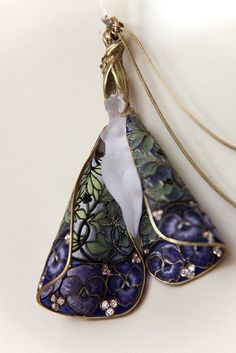 """treasures-and-beauty:  """" Pendant with chain, R.J. Lalique, Paris, around 1900 by Kotomicreations  """""""