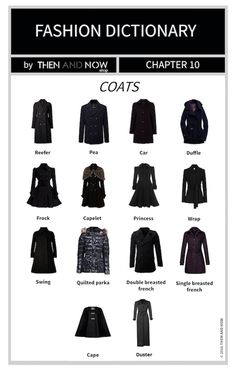 If you're stuck on what to finish your outfit with this autumn, we have designed a Types of Coats Infographic so you won't get stumped. Fashion Terminology, Fashion Terms, Fashion 101, Fashion History, Look Fashion, Fashion Outfits, Womens Fashion, Daily Fashion, Fashion Infographic