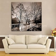 E-HOME® Stretched Canvas Art Rivers And Trees Decorative Painting Set of 3 2016 - $65.99