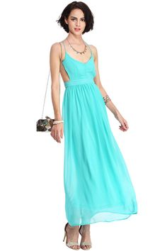 ROMWE Straps Cut-out Backless Longline Green Dress