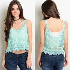 Mint Sleeveless & Unlined Crochet Top New with tags. Mint colored, unlined, sleeveless top featuring a crochet design, scooped neckline, and scalloped hem. Available in size S, M, and L. 100% cotton. PRICE IS FIRM UNLESS BUNDLED. ❌SORRY, NO TRADES. Boutique Tops Blouses