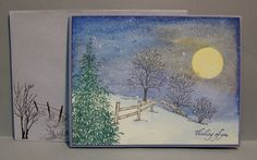 Winter Moonlight made with Serendipity Winter Fenceline and Evergreen from Forest of Trees