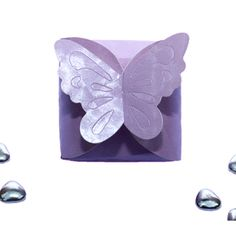 Purple Butterfly Wedding Favour Boxes