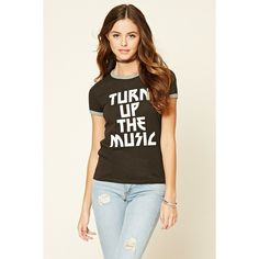 Forever 21 Women's  Turn Up The Music Graphic Tee ($11) ❤ liked on Polyvore featuring tops, t-shirts, graphic design t shirts, forever 21, graphic tops, graphic t shirts and forever 21 tee
