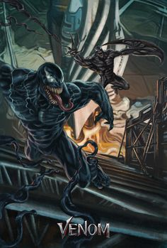 The artwork is a comic-book inspired depiction of what might be the face off/final battle scene between Venom and Riot. Marvel Comic Universe, Comics Universe, Marvel Cinematic Universe, Marvel Comics Superheroes, Marvel Avengers, Spiderman Marvel, Comic Villains, Comic Book Characters, Screaming Drawing
