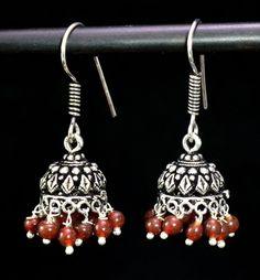 Jhumki Handmade Hook 925 Sterling Silver Plated Designer Earrings Jewelry KEB29 #krsnajewels #DropDangle