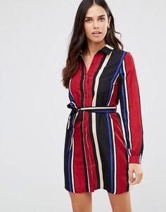 Club L Striped Shirt Dress