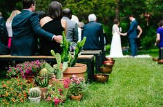 If there is room, buy potted plants for the aisle entry