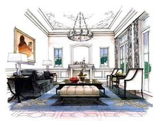 Home Decorators Collection Lighting Info: 3269241079 Drawing Interior, Interior Design Sketches, Interior Rendering, Contemporary Architecture, Interior Architecture, Interior And Exterior, Classic Interior, Living Room Interior, Interior Livingroom