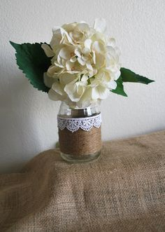 8 Lace and Twine Jars. Rustic Wedding Decor, Bridal Shower or Baby Shower Decor by Blustery Charm.