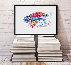 House Stark Watercolor Print Game of Thrones by MimiPrints on Etsy