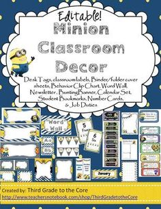 Minion Theme Classroom Decor-EDITABLE! from Third Grade to the Core on TeachersNotebook.com -  (73 pages)  - Deck your class out Minion style!! Editable labels, tags, newsletter, and more! Includes Behavior Clipchart and job duties!